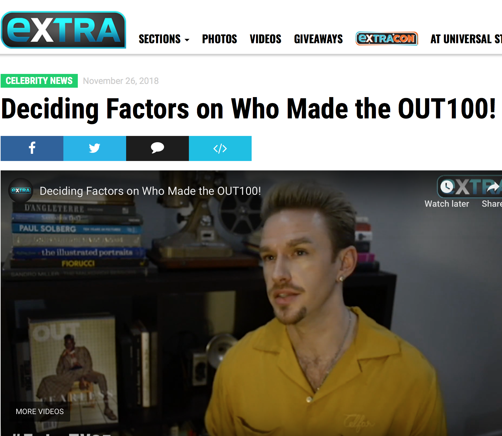 """EXTRA  (VIDEO INTERVIEW)   """"As for how the list was curated,  Out  editor R. Kurt Osenlund said, 'We looked at at every pocket of culture to see who was making their voice heard. We found a lot of different people. Our community is not one size, shape, color, or gender identity. It dictated how we chose people, but it was an organic process because it's simply what our community looks like.'"""""""