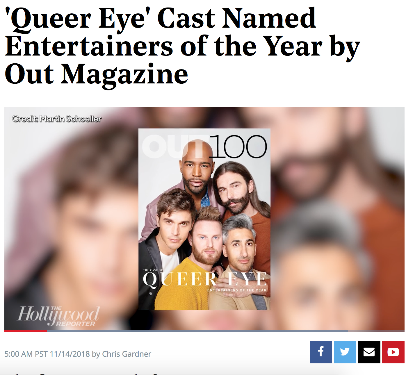 """THE HOLLYWOOD REPORTER    """"Curated by Executive Editor R. Kurt Osenlund, this year's list is said to be the most diverse Out 100 in its 24-year history. Says Osenlund, 'In the area of entertainment, specifically, we're simply seeing more varied types of LGBTQ people rise up and be visible and successful.'"""""""