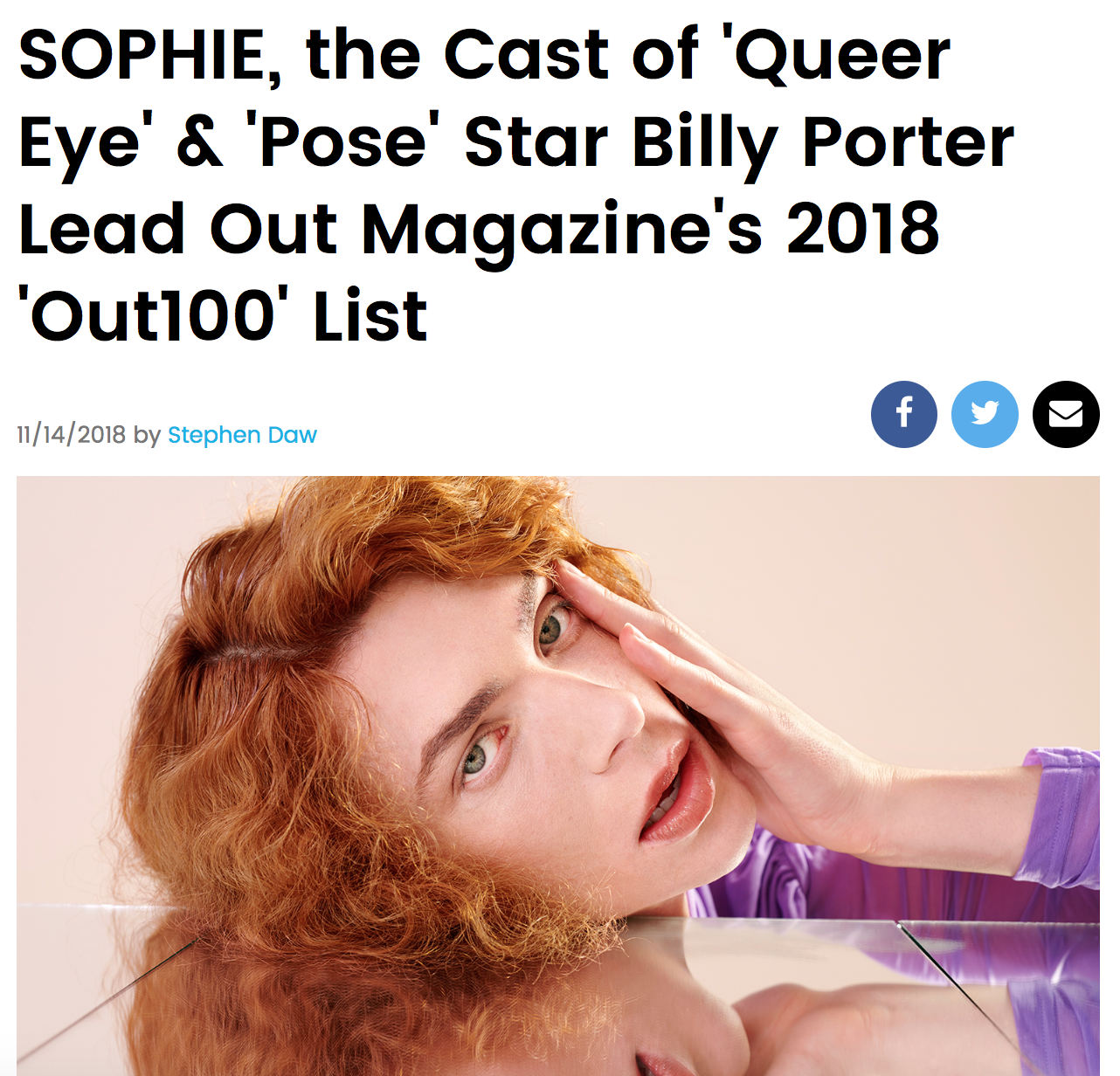 """BILLBOARD    """"The theme of this year's Out100 is 'Generations,' celebrating mainly young queer people and their move toward greater activism, but emphasizing the importance of dialogue between both the old and new generations."""""""