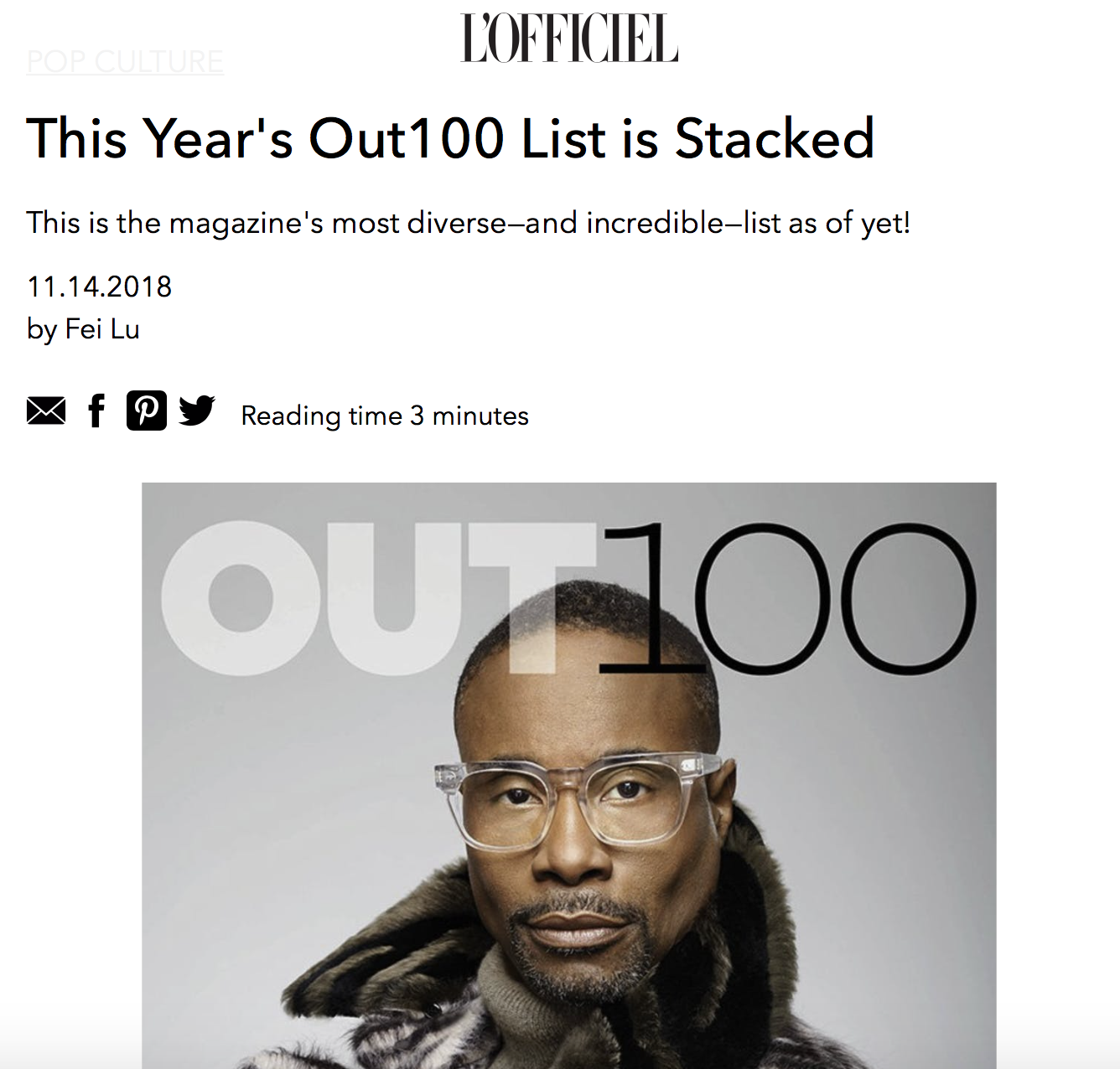 """L'OFFICIEL    """"Considering that this year has been a polarizing year for all minority groups within the States, a celebration like this is sorely needed. Called the most diverse list yet, it's amazing to see the LGBTQIA community embracing gender and racial diversity as well."""""""