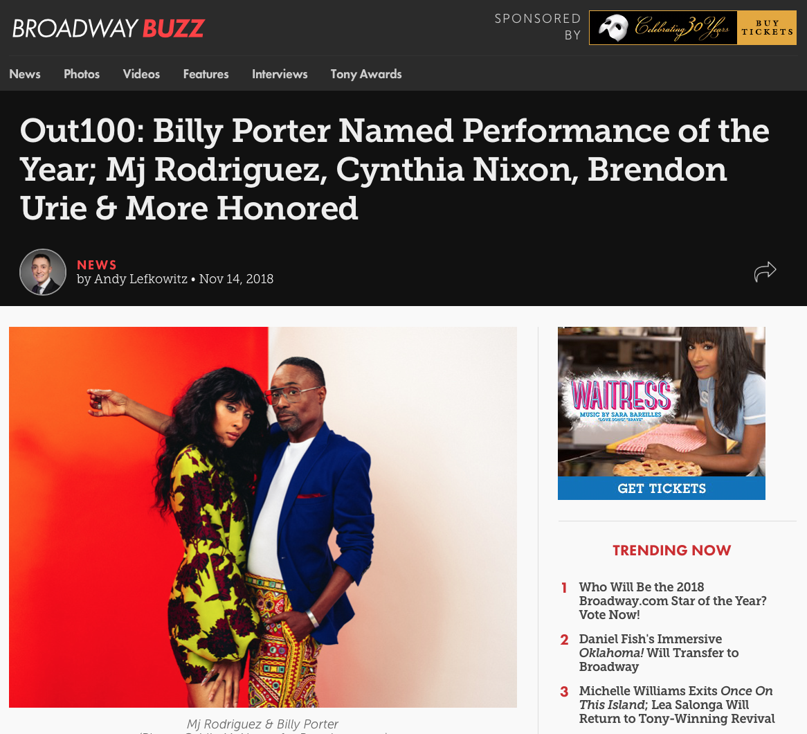 """BROADWAY    """"Notables also include two-time Tony winner and gubernatorial candidate Cynthia Nixon—named Hero of the Year—along with Tony nominee Brendon Urie ( SpongeBob SquarePants ,  Kinky Boots ), four-time Tony-winning producer Jordan Roth ( Angels in America, Falsettos ), and original  Rent  star Anthony Rapp."""""""