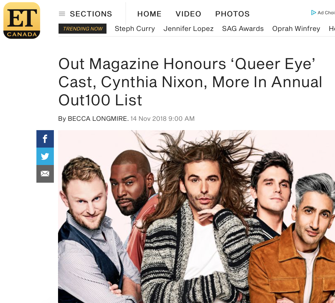 """ET CANADA    """" Out 's executive editor R. Kurt Osenlund said of the most diverse Out100 portfolio ever, 'Young queer people are unaccepting of anything that centers around a single, tired narrative, they are forcing change in the way society views normalcy, uses pronouns, embraces intersectionality, and creates media.'"""""""