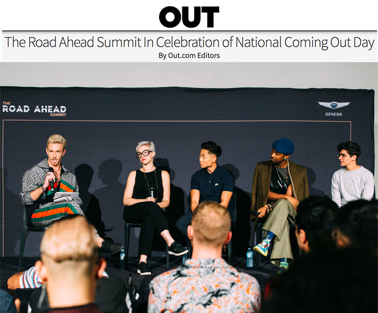 """""""THE ROAD AHEAD"""" SUMMIT   (PANEL MODERATION)   I lead a panel discussion with fellow industry creatives Amy Virginia Buchanan, Daniel Sueng-Lee, Jerome LaMaar, and JD Samson in partnership with Genesis USA in honor of National Coming Out Day.   Photography by Emil Cohen"""