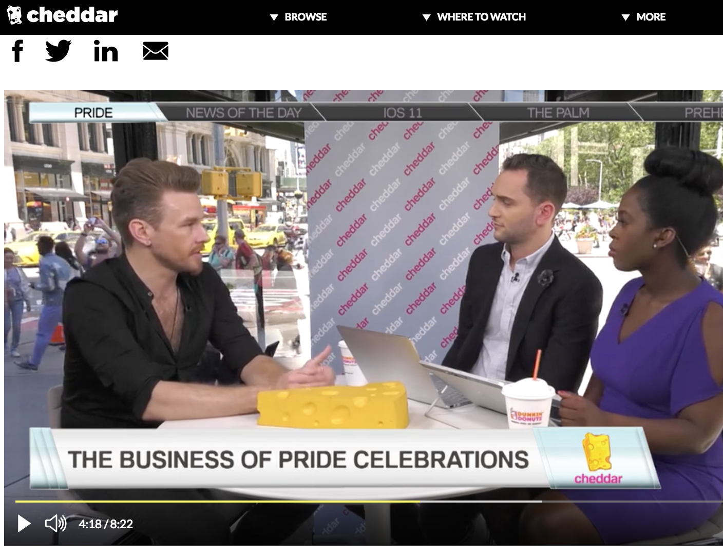 CHEDDAR  (LIVE VIDEO SEGMENT)   I chat with the  Cheddar  news team about how businesses and branded content align with Pride month.