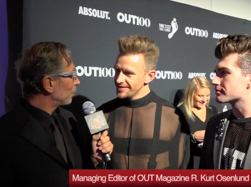 HIV HERO  (LIVE RED CARPET INTERVIEW)   I speak to a reporter about the editorial and curatorial process that goes into the Out100 during a previous event for a past portfolio.