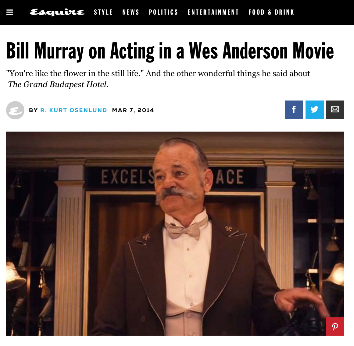 "ESQUIRE  INTERVIEW, BILL MURRAY (MARCH 2014)   ""The acting and comedy legend strolls into the room as if someone just kicked him off his couch: flannel shirt, loose jeans made to fit with a cinched belt, sneakers, and an unkempt 'do to rival Bruce Dern's in  Nebraska . And through it all, the  SNL  vet, 63, stands as someone that much more deserving of idol worship."""