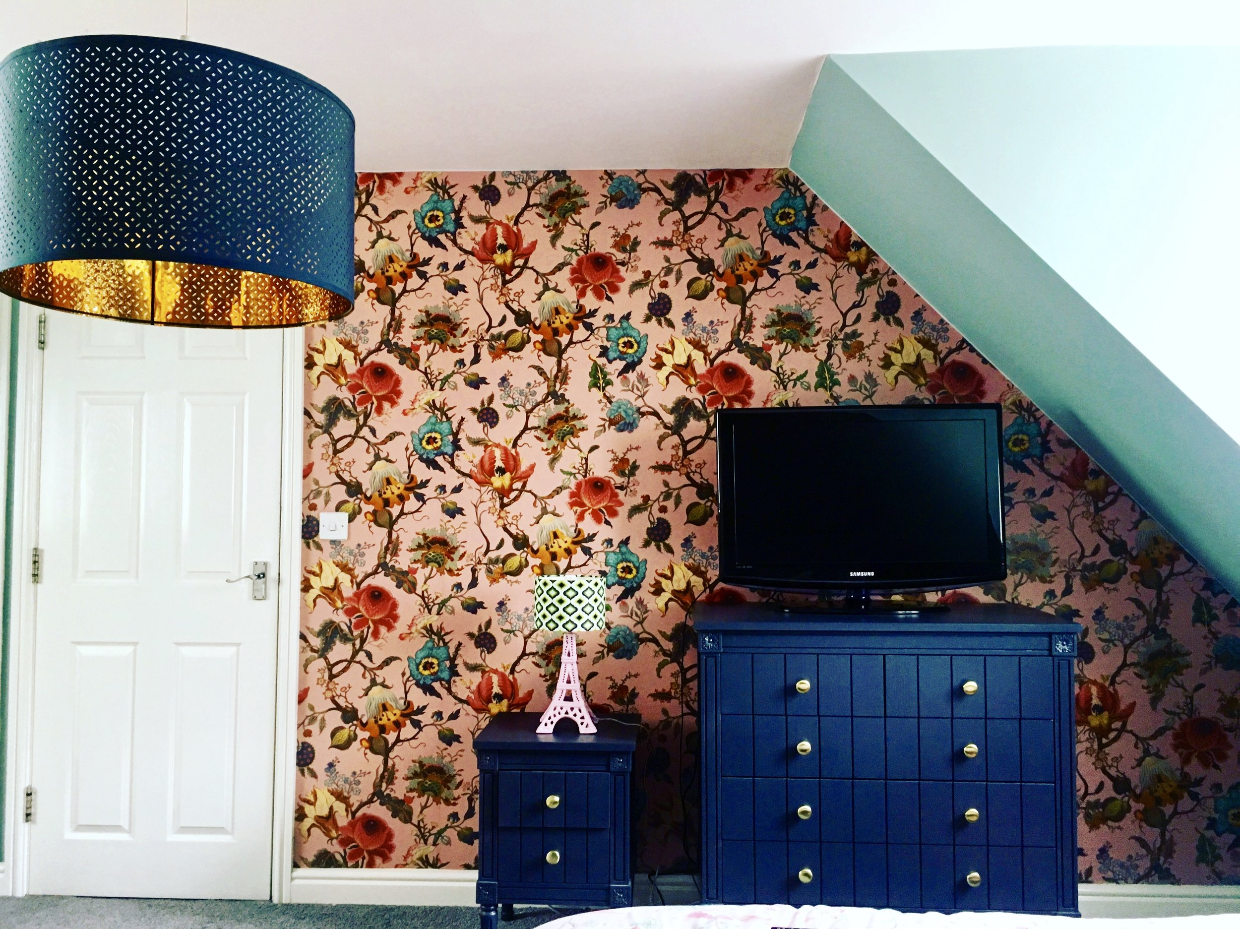 Bedroom: Wallpaper - Artemis - House of Hackney Wall paint - Dix Blue Farrow and Ball  Furniture - Made.com Eifel Tower lamp - Rose Lee Interiors  Ceiling Lampshade - Ikea