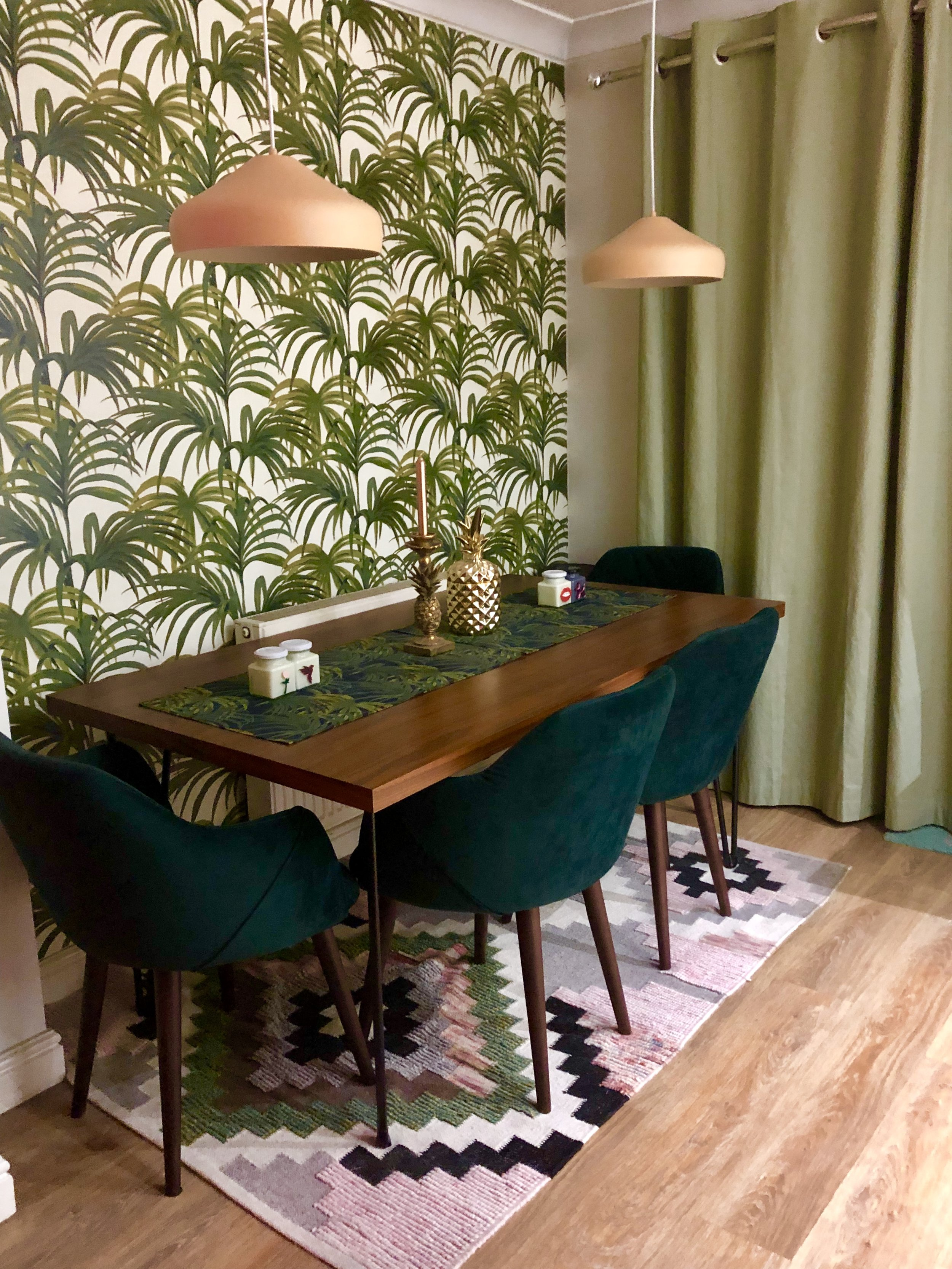 Dining room of dreams: Table - La Radoute Chairs - Made.com Wallpaper - House of Hackney Rug - La Radoute Curtains - Next Table runner - Tea Towels used as runner from House of Hackney Peach pendant lights - Made.com