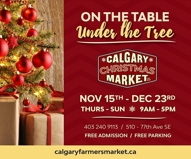 Discover everything your family needs for On the Table and Under the Tree at the @calgaryfarmersmarket this weekend! Find the best from your favourite local vendors, indulge in delicious treats, and enjoy a variety of Christmas activities. #YYC #yycevents