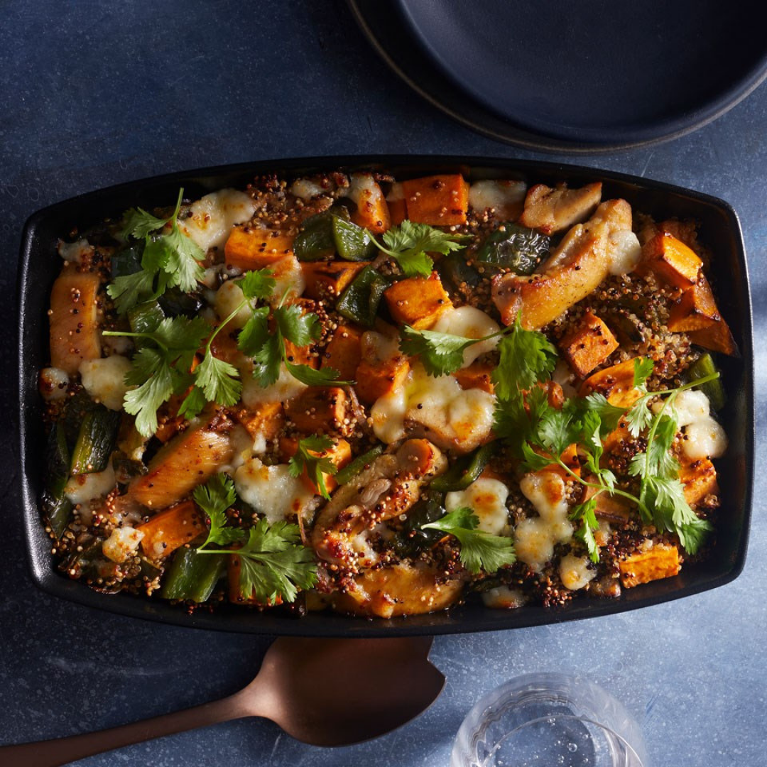 Chicken, Quinoa, and Sweet Potato Casserole - In our house, anything that can be made in under an hour is pure gold. It's especially nice when all of the ingredients pretty much make it onto one pan. Colourful, fresh, and inviting, this delightful dish is a household favourite.Get the recipe>>