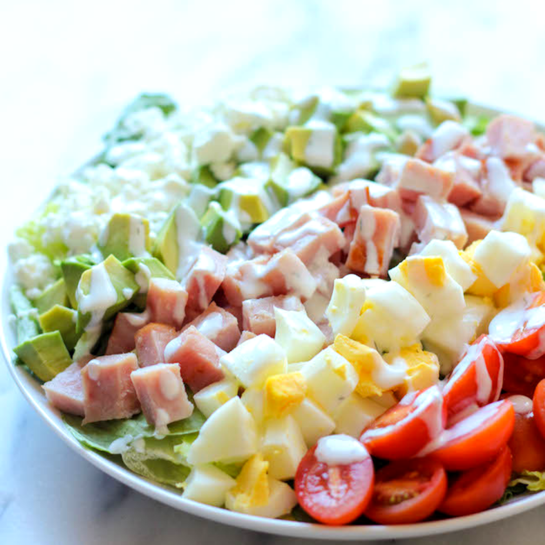 Ham Cobb Salad - On busy weeknights when you find yourself stuck for ideas, turn to my trusted salads. This one's super easy to dice up, and you even get to coat it in delicious ranch dressing.Get the recipe>>