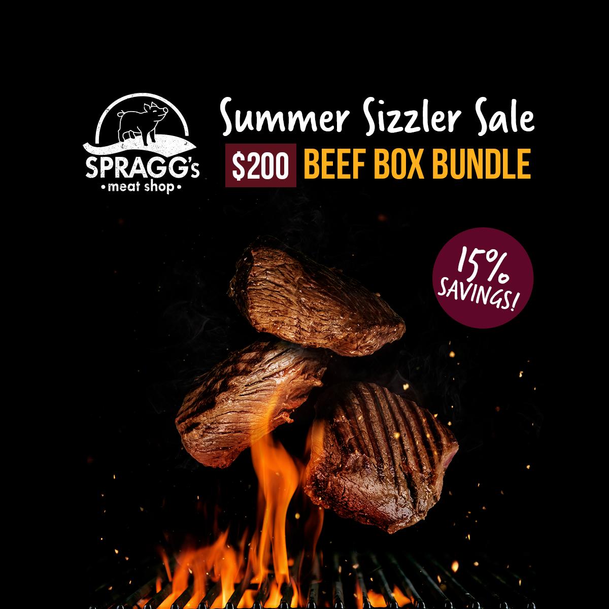 $200 BEEF BOX BUNDLE - - 2 T-Bone Steaks- 2 Prime Rib Steaks- 2 pkgs Top Sirloin Steaks- 3 pkgs Beef Stirfry- 1 3lb Cross Rib Roast- 10 lb Box of Ground BeefAvailable August 1 - August 31, 2019