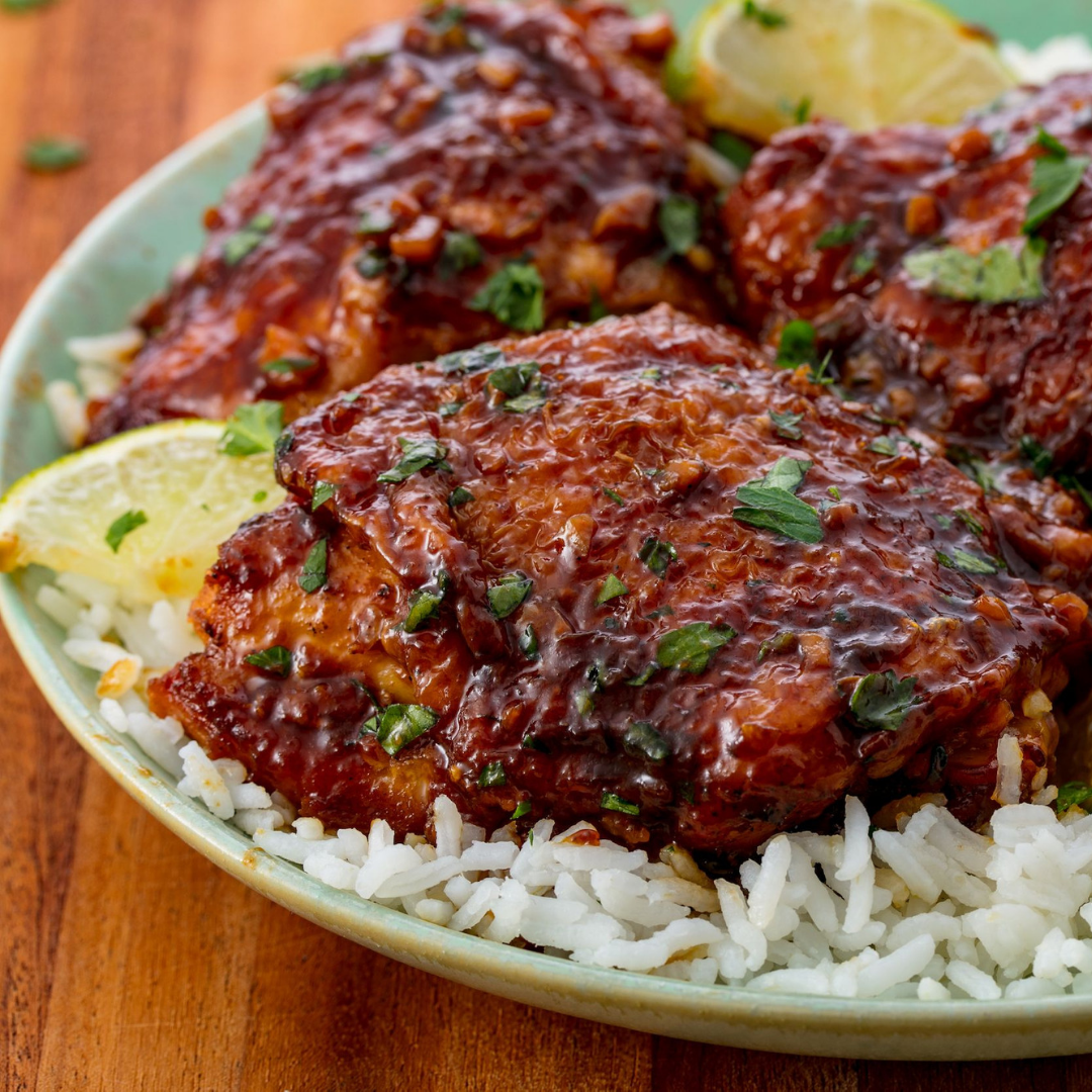 Chicken Thighs - Throw in your meat, homemade sauce, and any vegetables you fancy and let it sit for 6 hours. Serve with fresh lime to bring out the flavours and rice or quinoa for some healthy and filling carbs.Get the recipe>>