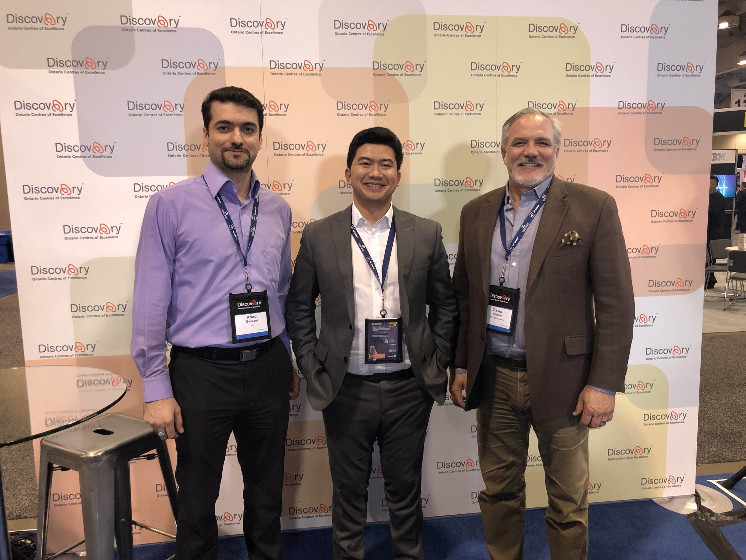 Ahad Beykaei CTO, Emil Sylvester Ramos CEO and David Keaney CFO at the Discovery 2019.