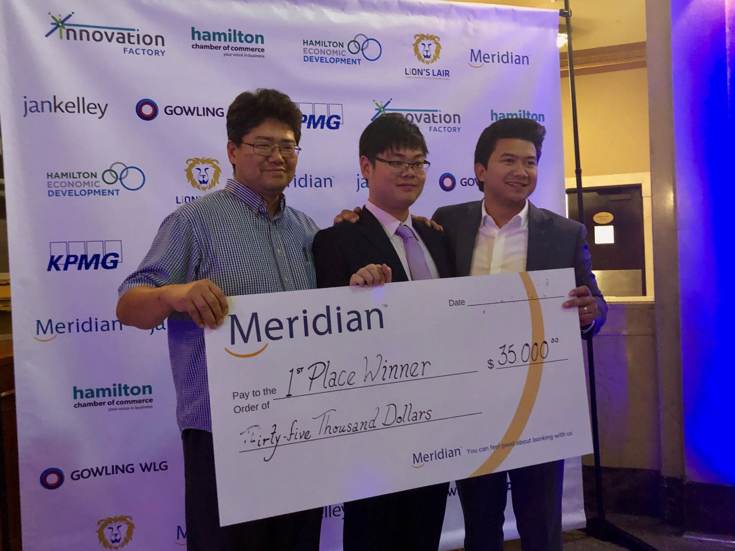 Emil Sylvester Ramos,  Brian Bae & Kevin Xia with the 1st Place winner award.