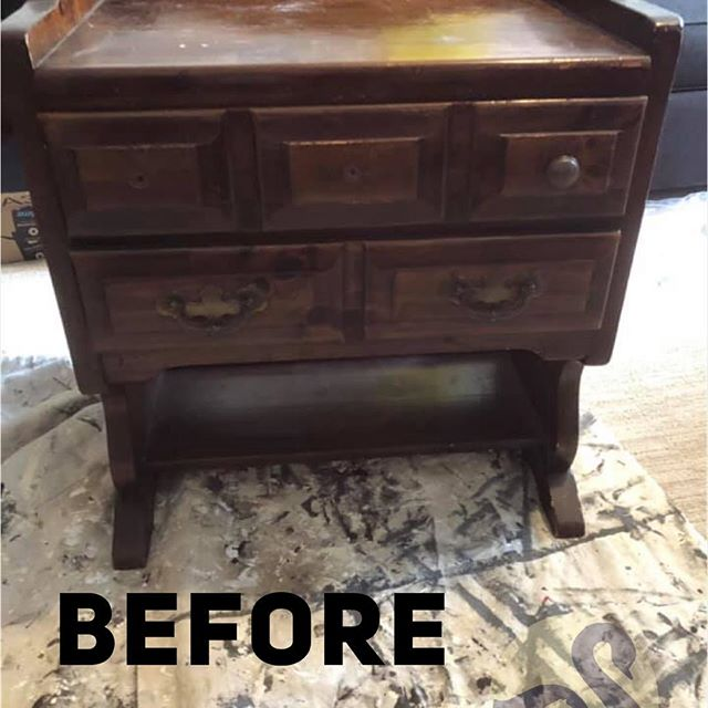 """New paint with a wax and buff, painted designs added to the top and sides, new hardware, drawers lined  and a quote added to the box below to collect corks gave this solid piece of furniture new life as a wine display/storage piece.  Swipe ⬅️ to see the """"after""""! #NightstandTransformation #DIYChalkPaint #AnnieSloanClearWax #SilhouetteCameo #WineRack #NewHardware #DistressedFurniture #Stencils #Medallion www.uglyducklingfurniture.com"""