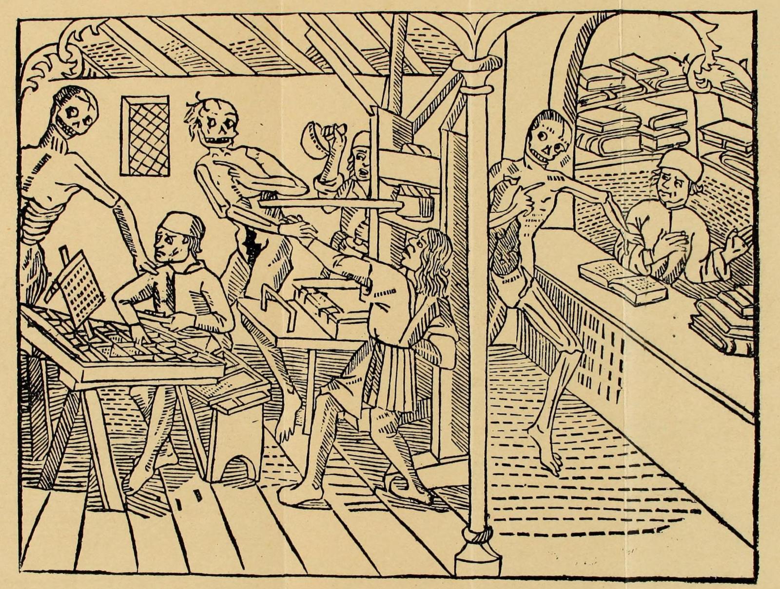 Matthias Huss,  Danse Macabre  1499. The earliest known depiction of a printing press, with the printer, compositor, and bookseller all pursued by Death.
