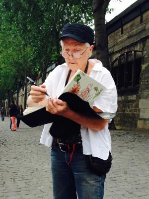 Sue sketching on the Seine River in Paris, 2014