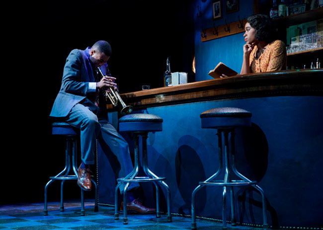 J. Alphonse Nicholson and Kristolyn Lloyd in PARADISE BLUE at Signature Theatre. Credit: Joan Marcus.