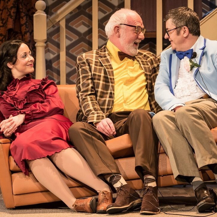 Sarah Earnshaw as Betty, Moray Treadwell as Mr Luscombe and Joe Pasquale as Frank Spencer in Guy Unsworth's 2018 production. Photo credit: Scott Rylander