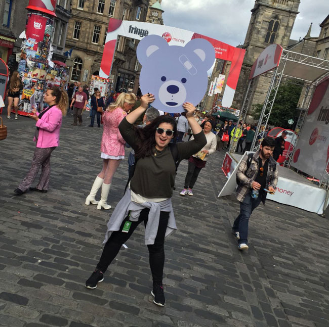 Our stage manager, Mia, with Mr. Fritz on the Royal Mile.