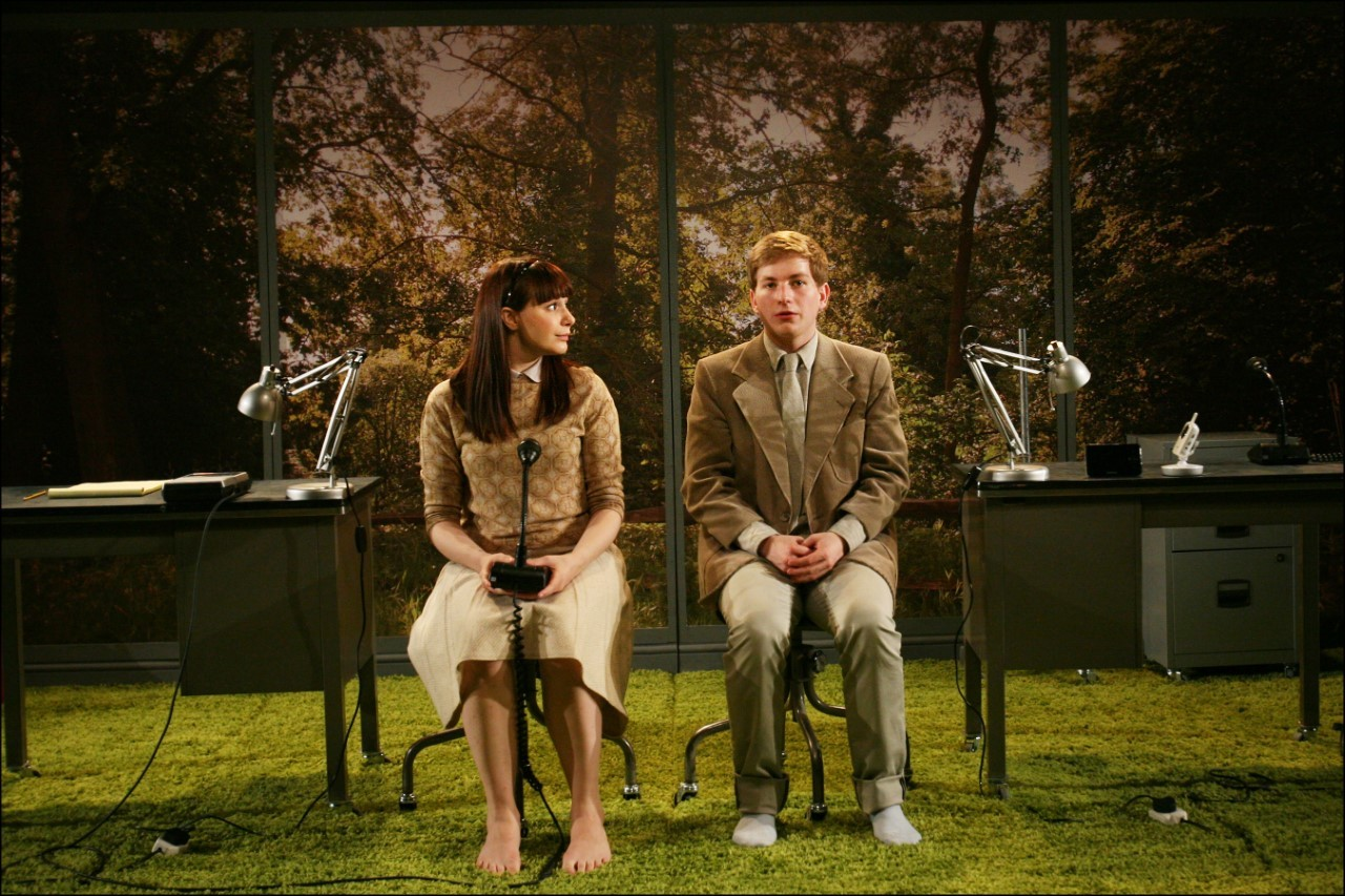 Rosie Wyatt and Harry McEntire in Blink. Design by Hannah Clark. Photo by Sheila Burnett.