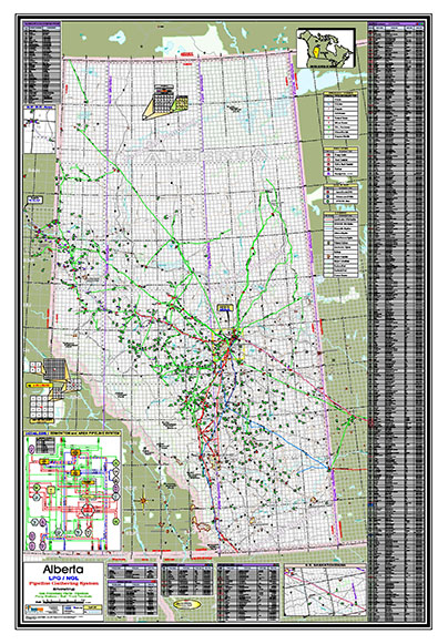 """Map of Alberta:$395.00 or$295.00 (2 or greater) - LPG/NGL Alberta Map Size: 42"""" x 62"""""""