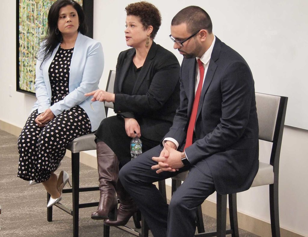 Credit to The Bay State Banner:  At-large City Council candidates Alejandra St. Guillen and Julia Mejia and District 5 City Council candidate Ricardo Arroyo field questions during a meeting with members of the city's Latino community.