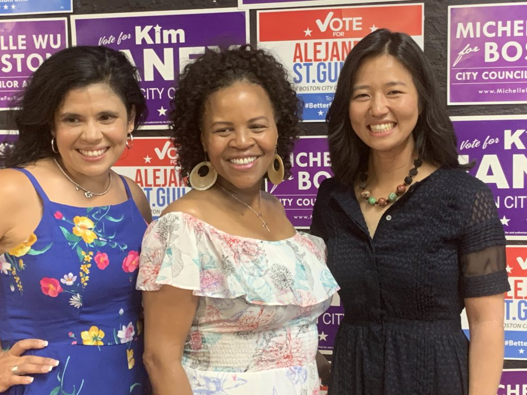Alejandra St. Guillen, Kim Janey and Michelle Wu opened a joint campaign office in Dudley Sq. Saturday.  Photo courtesy Michelle for Boston
