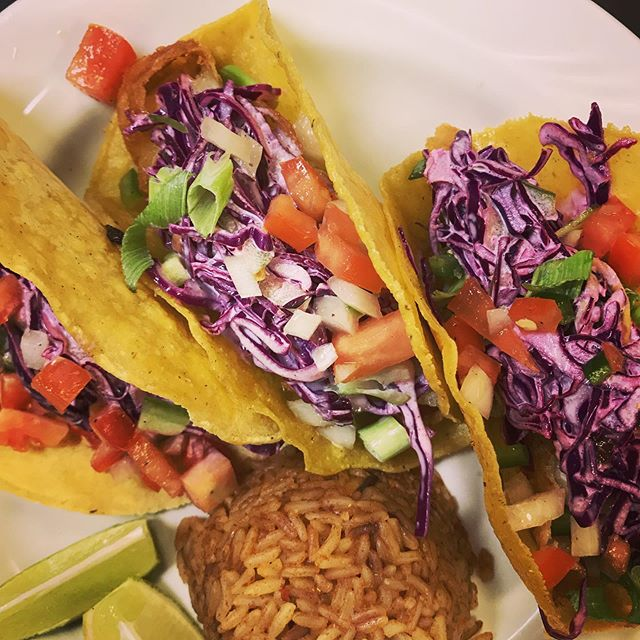 No fake news here: we got fish tacos today 3 for $8 with housemade pico de gallo and rice. +Live Music by 40 Fingers on the patio. Last long weekend before school starts!