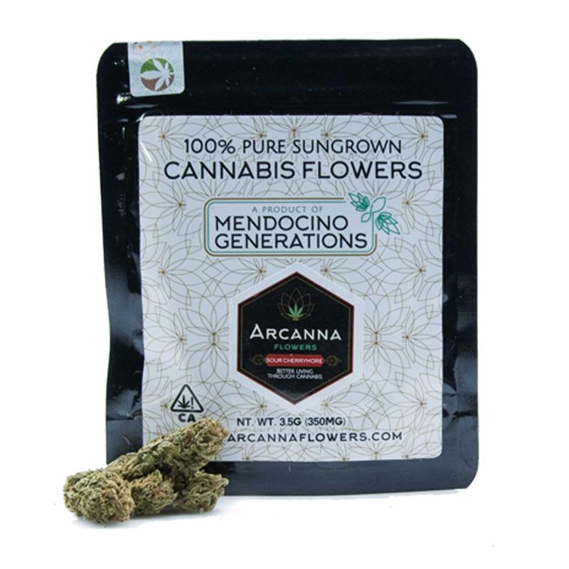 Arcanna Flowers,  Sour Cherrymore (Hybrid)  1/8 Packaged Flower, Outdoor Light Dep