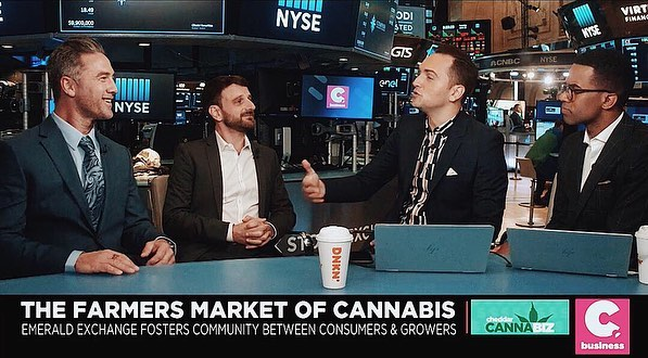 Justin Calvino and Michael Katz looking sharp on @cheddar 💚 Click the link in our bio to tune in and listen to the founders of The Emerald Exchange talk about their passion in craft cannabis. . . . . . . #cannabiscommunity #losangeles #emeraldexchange #sun #heritage #tradition #culture #dedication #passion #family #love #heart #farmersmarket #cannabis #nature #persistence #newyork #mendocino