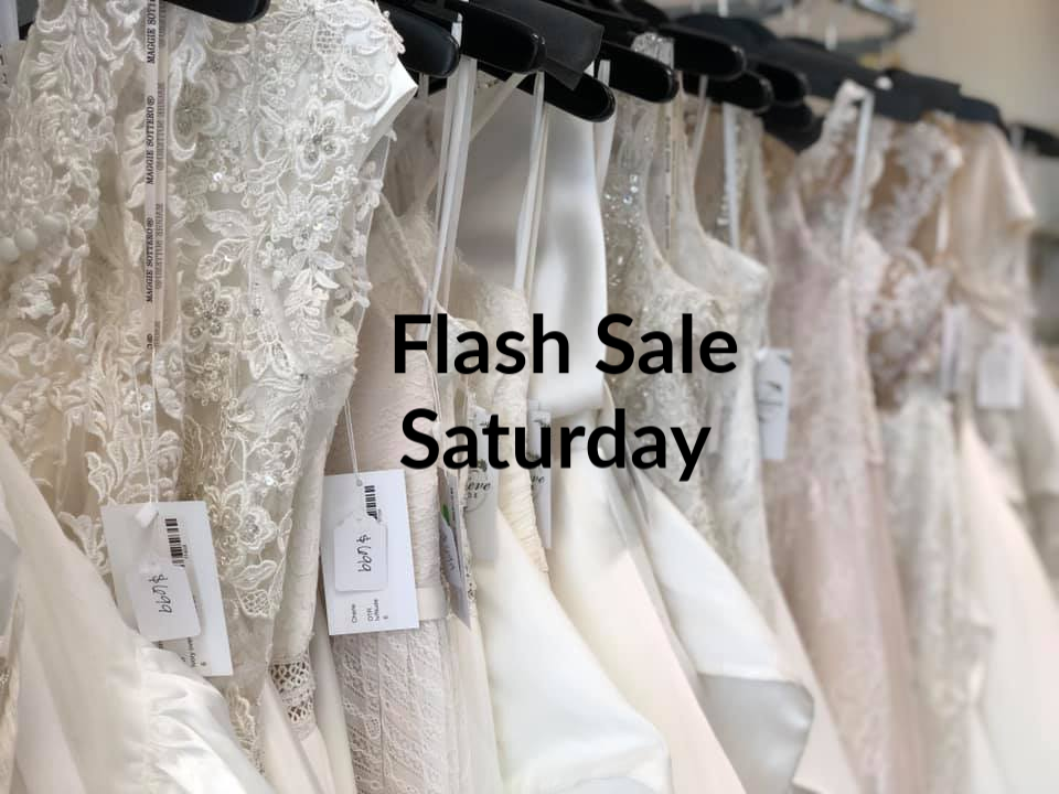 This Saturday Only! Save $$$ on your dream gown.  Over 100 dresses marked down to $699 and $999. See our Facebook for more pictures.