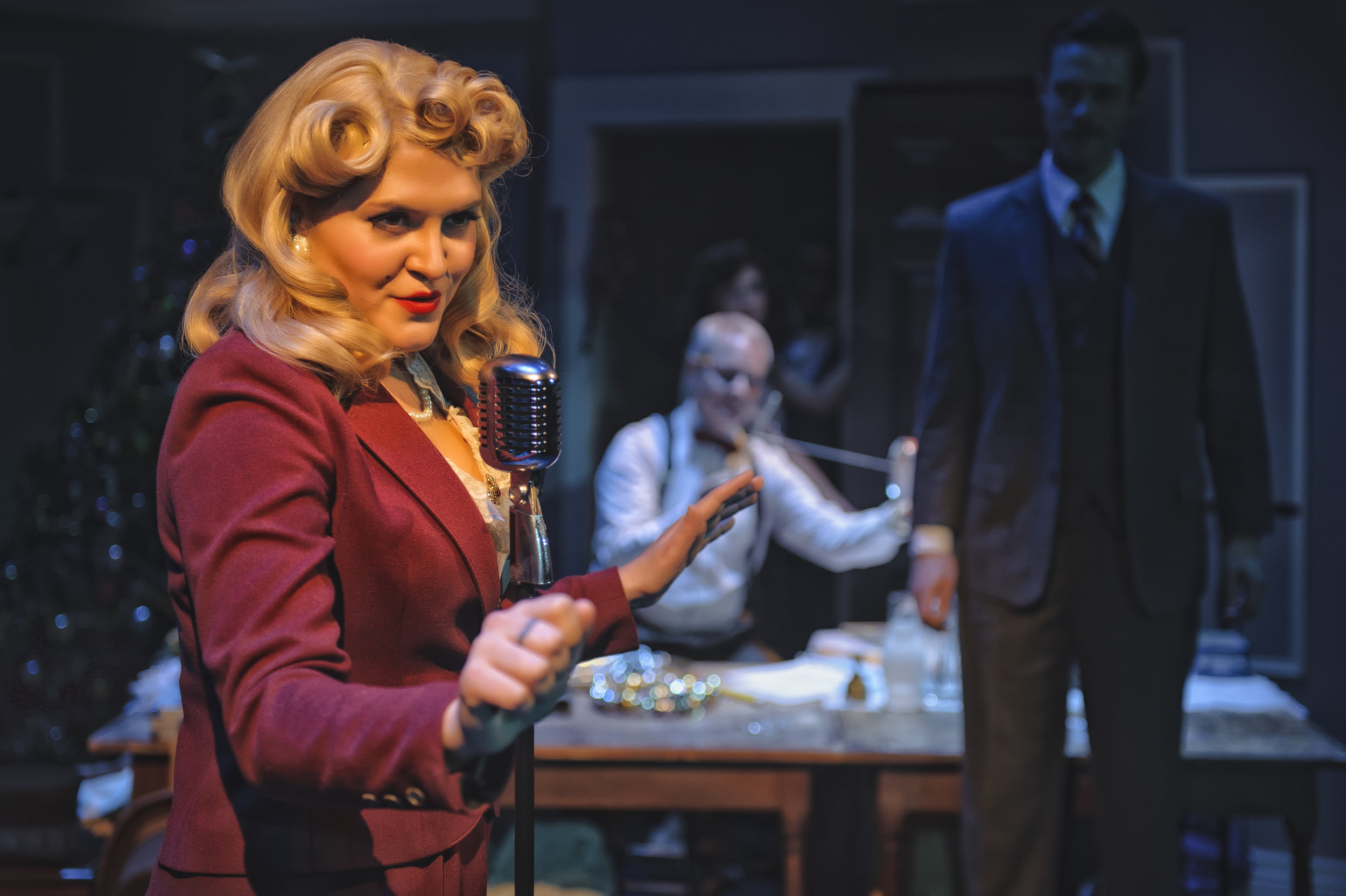 """Lana Turner in """"Christmas Carol: A Live Radio Play"""" at Resident Theatre Company"""