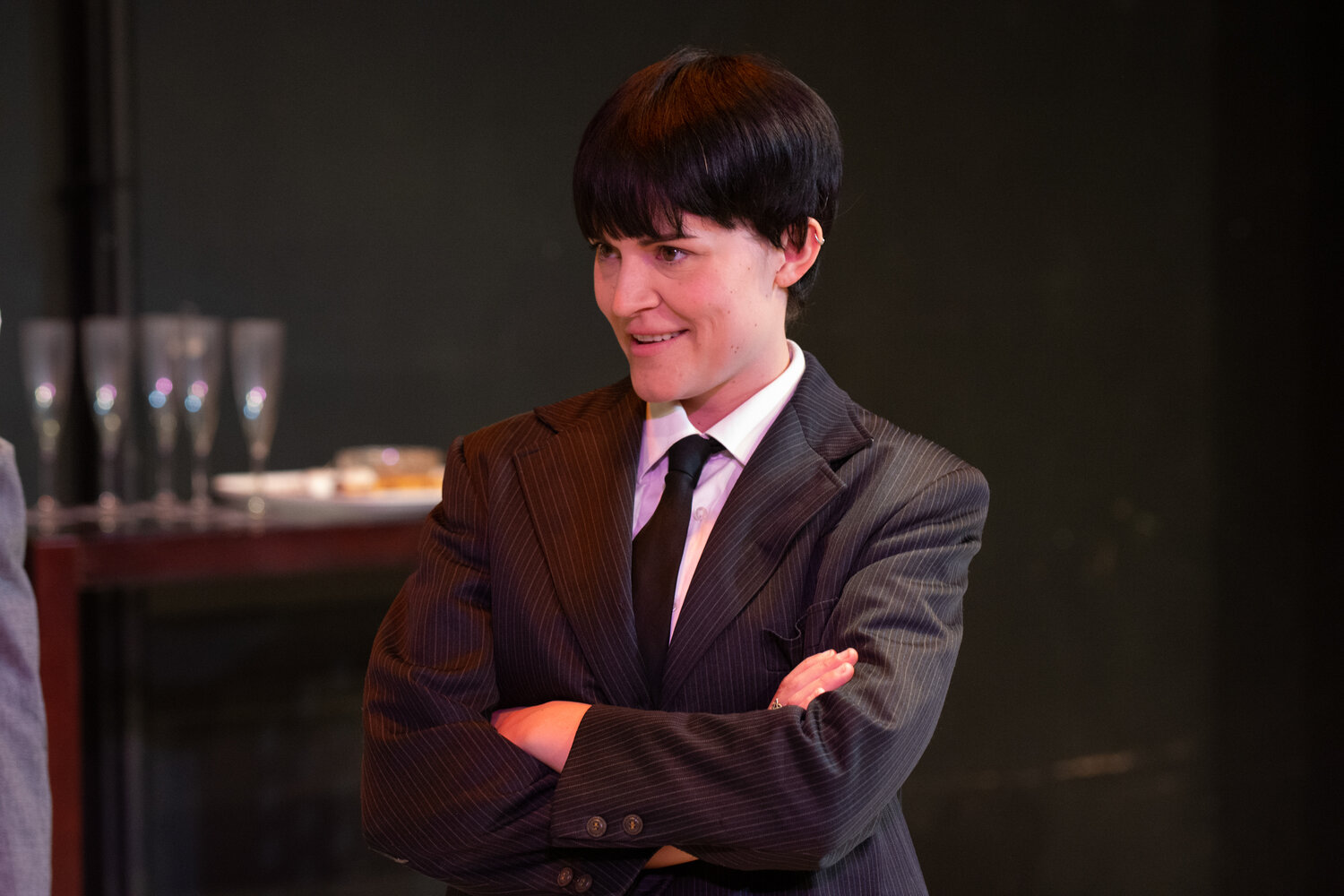 """Rachel Crabbe in """"One Man Two Guvnors"""" at Quintessence Theatre Group"""
