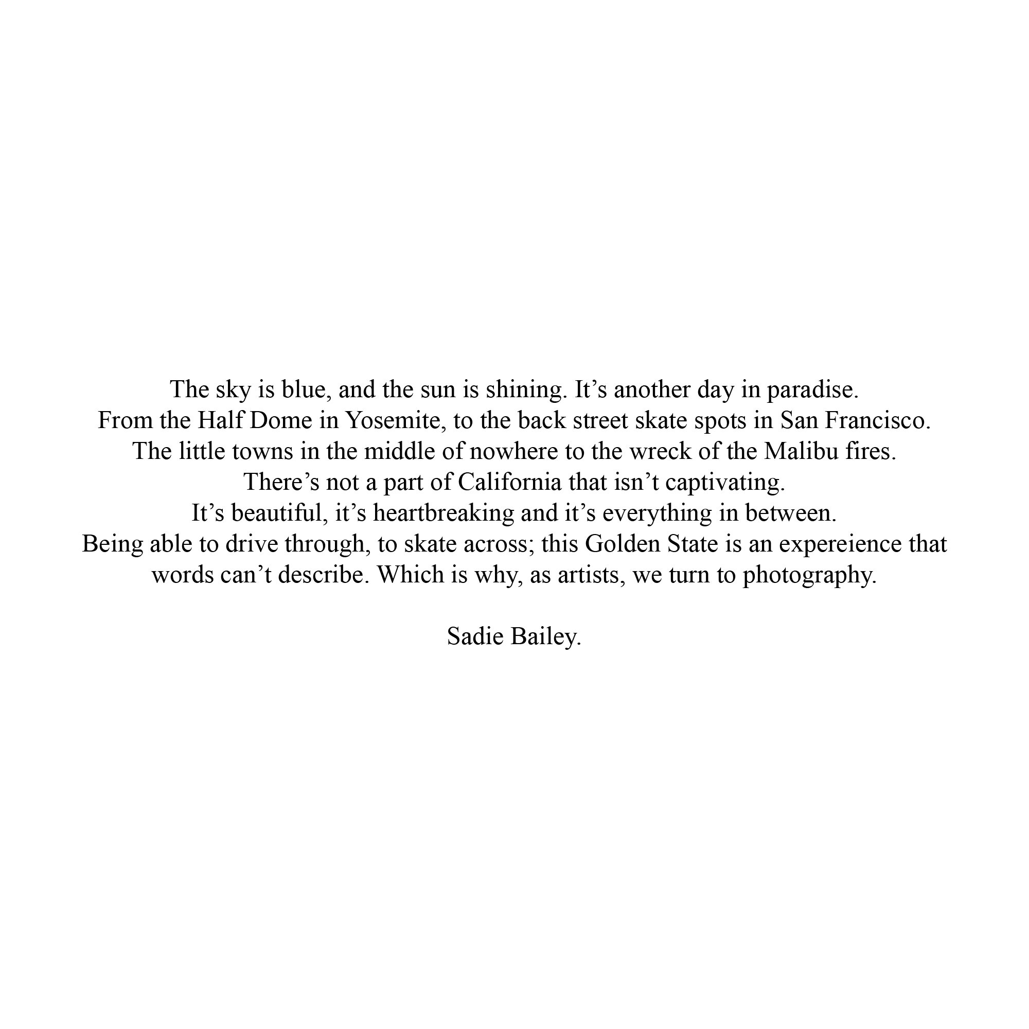 Some words from  Sadie Bailey.