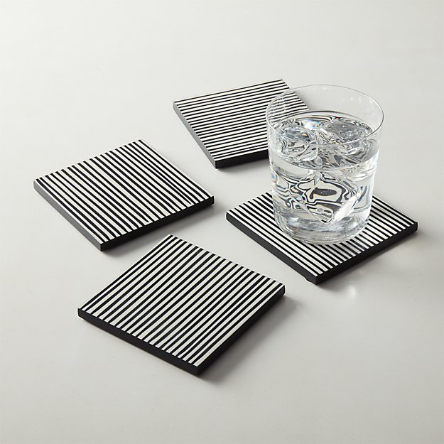 Pinstripe Black and White Coasters