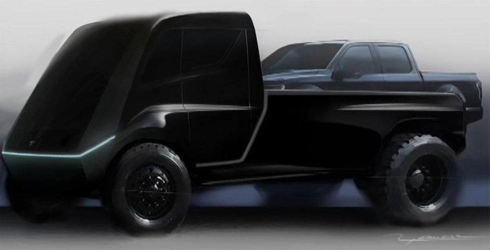 This concept shows the teaser image as the front of the truck.  The back of the truck is a concept released by Tesla when the Tesla Semi was announced, it's not necessarily a representation of the actual truck.  Source:  u/LukeTospace