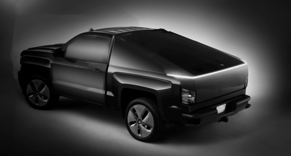 This concept shows the teaser image being the box cover on the future Tesla Pickup.  Source:  u/waytomuchsparetime