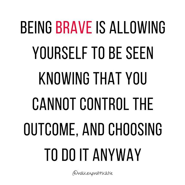 Hardest thing ever! Being brave is a skill that CAN be cultivated! * Courage and bravery are a tolerance, a surrender to, and an allowing of the sensation of discomfort in the body while simultaneously taking an action in a direction in which we cannot be certain of the outcome. * They are a release of control, and a trust in yourself that is so strong that you do not need to know or forecast what will happen, because you believe in your own ability to navigate whatever is being thrown at you. * They are a trust in a higher power, and a knowing of the natural flow of the universe such that you understand you are here to show up and do something, and that the impact that will have is of a higher order and purpose than we can comprehend. * Bravery and courage are the natural state of a human being that is able to move through and navigate life. * To me these words describe the action oriented outcomes of what it means to trust in and follow your intuition, even when there is uncertainty about where that is leading you, and a belief in and love for yourself that is deep enough to receive the love that comes to you, and also to withstand whatever rejection or negativity may come your way. * My wish for every human being is to know the beauty and the freedom that come from living courageously. I used to believe that control was the best answer. * I didn't trust in a higher power to be guiding me in the direction I wanted to control my life to go in. I just didn't understand yet that there could be something greater! * Letting go, stepping back, observing, surrendering, connecting, believing, trusting and following my inner guide have forged a courage in me that I couldn't have navigated to on my own. * Be brave beautiful humans, trust your inner guide, your inner freedom depends on it! Happy Friday loves! ❤️❤️❤️❤️🙌🏼🙌🏼🙌🏼🙌🏼👊🏼 * * * * * #wakeupwithkatie #bravery #love #courage #soulwork #innerhealing #trust #higherpower #surrender #letgo #believeinyourself #innerfreedom #vu