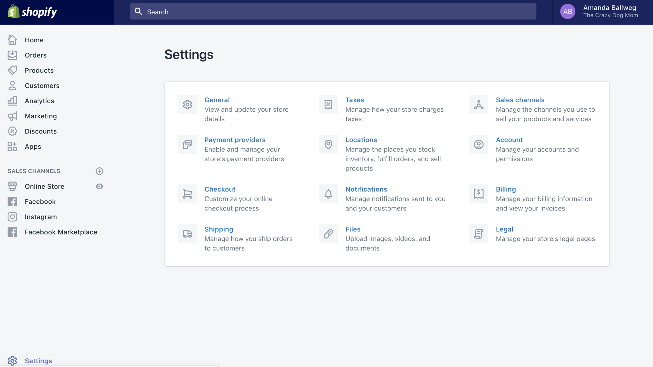 Shopify online store settings dashboard