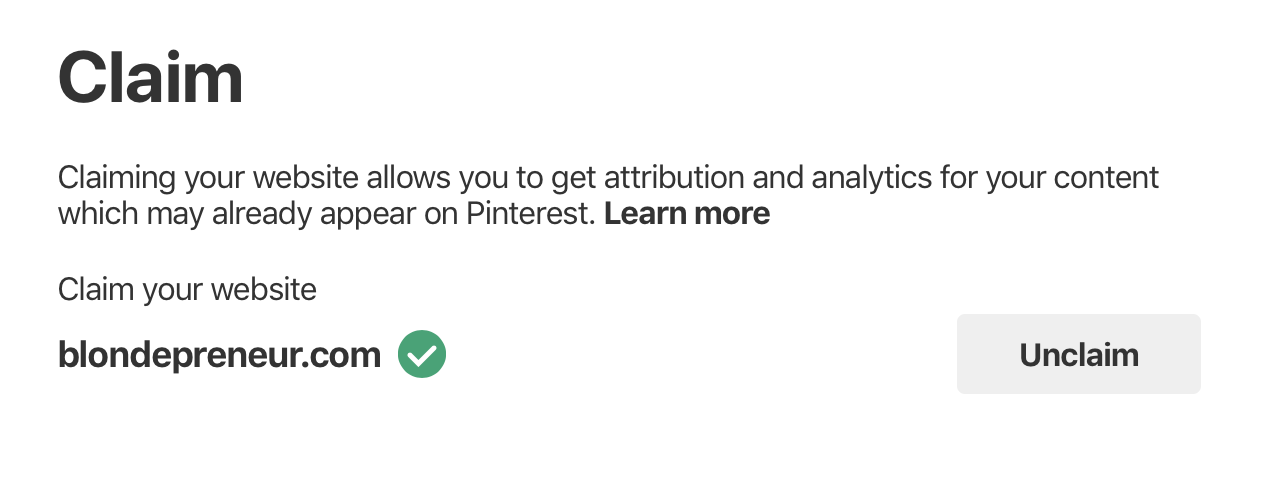 Claim your website on Pinterest