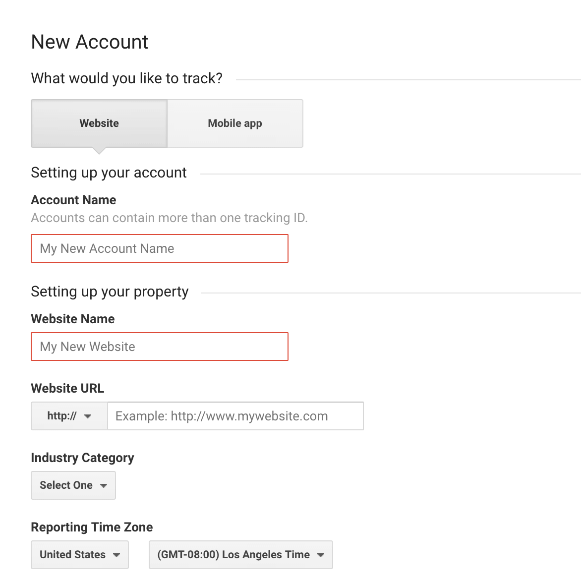 Start creating your Google Analytics account