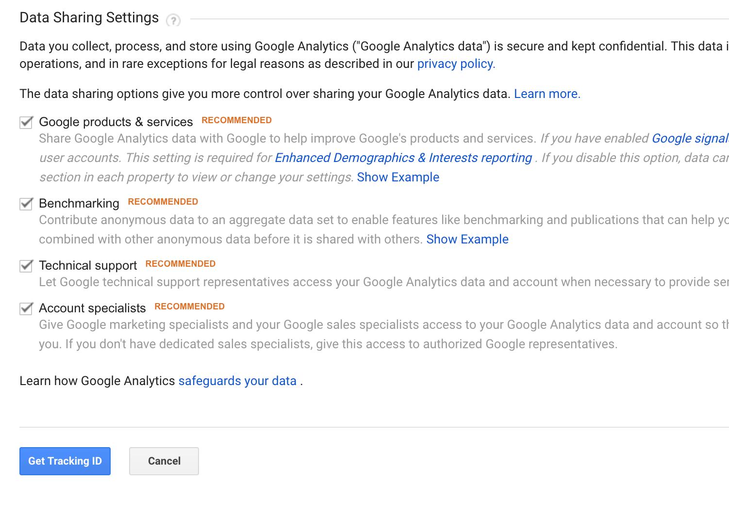 Google Analytics account creation process