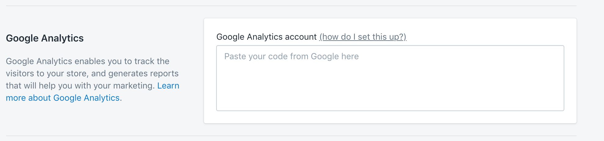 Google Analytics section in Shopify