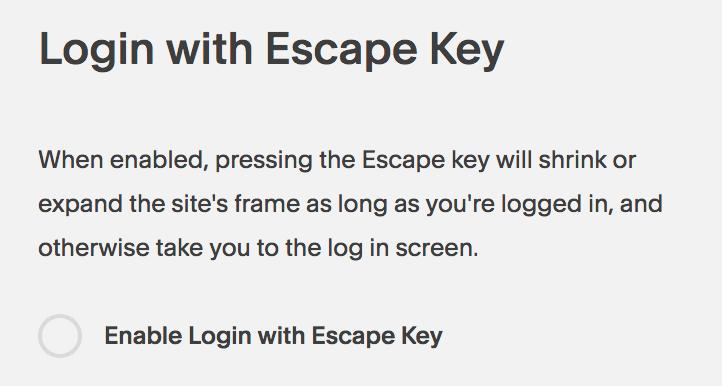 Disable escape key login for Squarespace