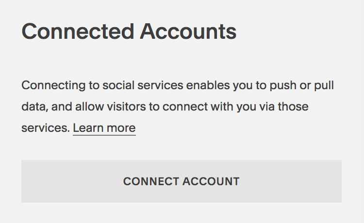 Connect your social media accounts to Squarespace