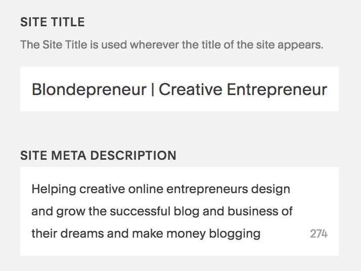Add a Google description for your website using SEO keywords in the site meta description section