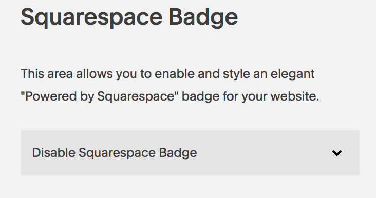 Disable to Squarespace badge