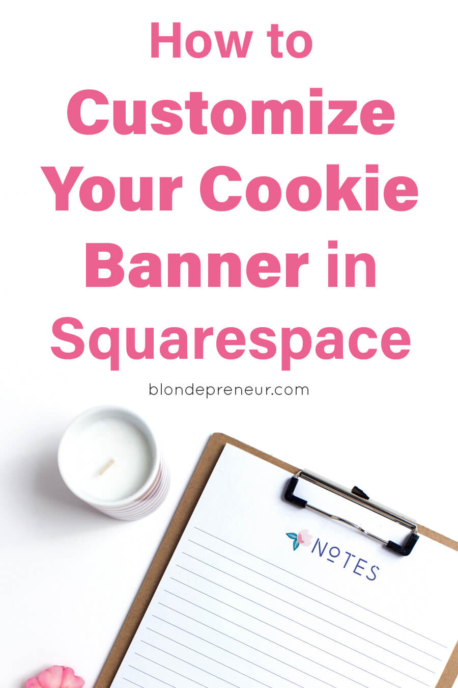 When using Squarespace's cookie banner on your website it isn't exactly pretty. But you know the importance of following GDPR on your blog and understand that a cookie banner is crucial. Learn how to customize your website's cookie banner in Squarespace with these easy to follow instructions with copy and paste code included! #squarespace #blogging #blogdesign #websitecookiebanner